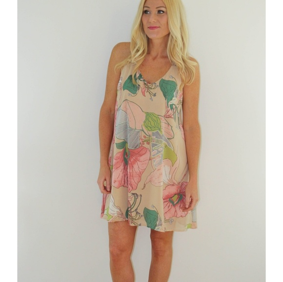 4d5e41942a7 Floral Cream Pink Green Shift Dress Strappy Back